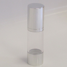 Clear & Silver Chrome 30ml With Cap - Airless Serum Bottles