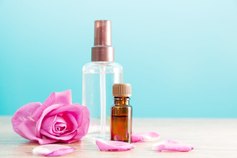 Bottle aromatic oil pink rose