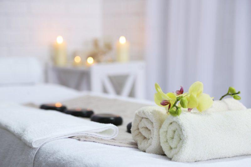 Romantic massage set up